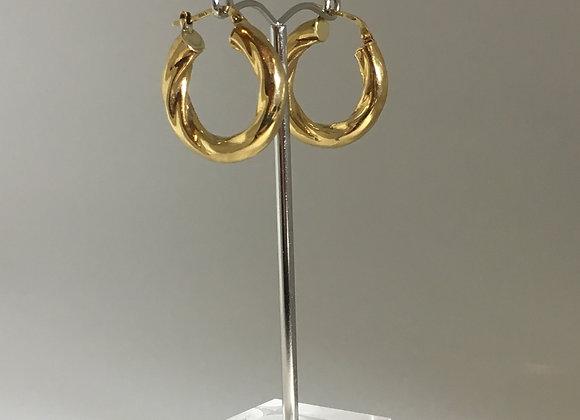 9K Yellow Gold Vintage Hoop Earrings