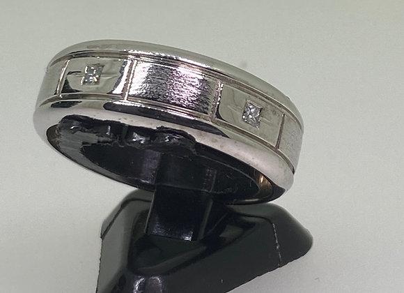 9K White Gold & 0.15ct Diamond Mens' Ring/Wedding Band