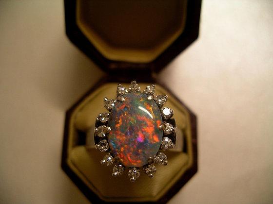 Semi-Black Opal & Diamond Ring
