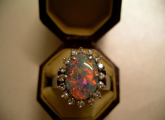 Semi-Black Opal & Diamond Ring