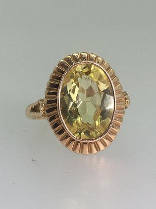 14K Rose Gold & Lemon Quartz (Oro Verde) Russian 1960's Vintage Ring