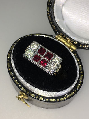 Two Tone 18K Gold, Ruby & Diamond Cocktail Ring