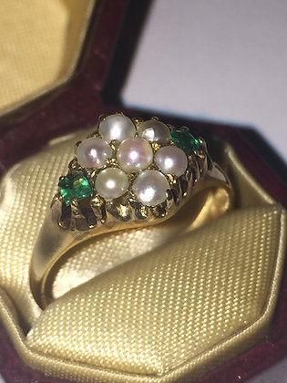 Antique Pearl & Emerald ring