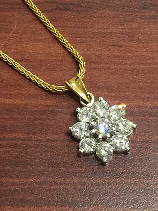 Diamond Daisy Pendant on a matching chain