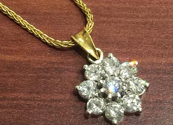 Diamond Daisy Pendant on a matching chain