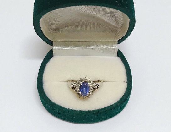 Blue Sapphire & Diamond Cocktail Ring in 9K White Gold