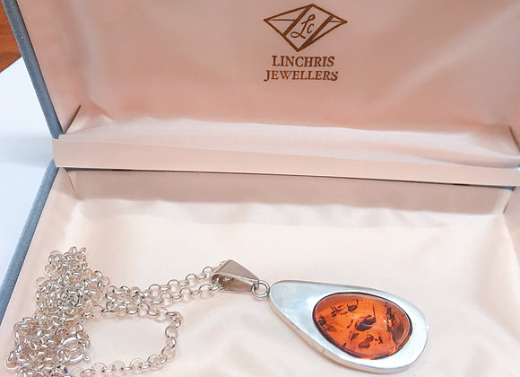 Fine Baltic Amber Pendant in 925 Sterling Silver on a Matching Silver Chain
