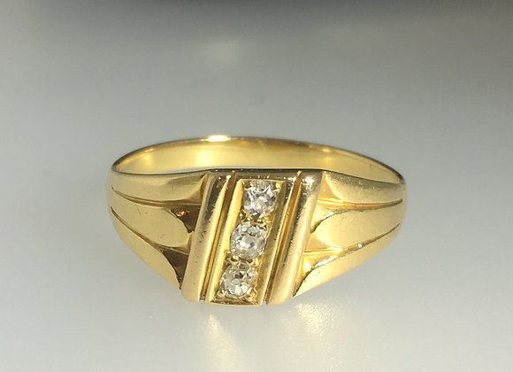 18K Gold & 3-Stone Old-European Cut Diamond Ring