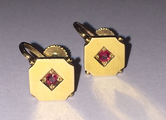 14K Yellow Gold & Ruby Clips