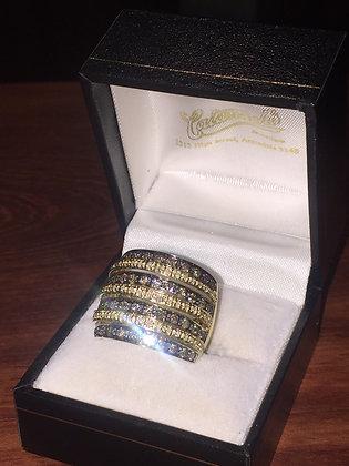 Seven Row Diamond (Cognac & White) Barrel Shaped Ring