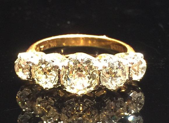 Art-Deco 18K Gold, Platinum & 5 Stone Diamond Ring