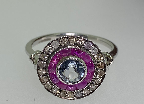 0.45ct Aquamarine, Rose Cut Diamond & Ruby Double Halo Ring in Gold & Silver