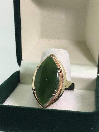 9ct Yellow Gold New Zealand Tiki Stone Vintage Ring