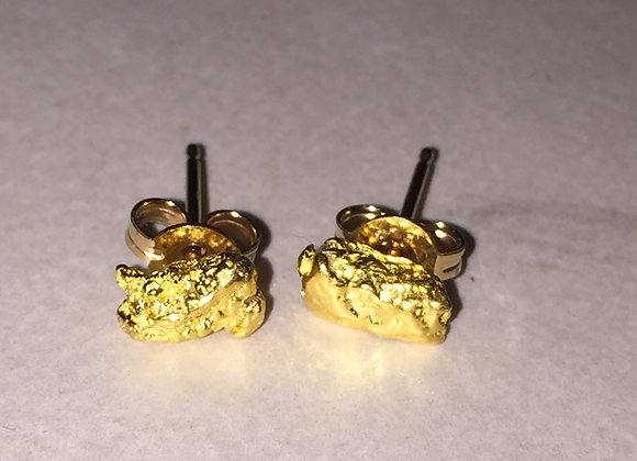 Gold Nugget Stud Earrings
