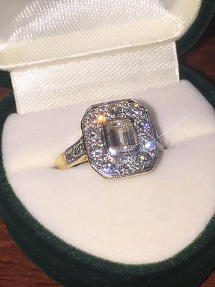 18K Gold & Emerald Cut Diamond Ring
