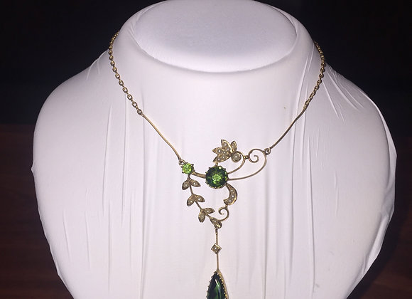 Gold, Green Tourmaline & Seed Pearl Necklace