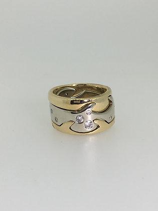 """Unique Two-Tone Gold & Diamond """"Puzzle"""" Three-Piece Ring"""