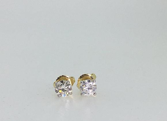 1.15ct (total) Diamond Stud Earrings in 18K White & Yellow Gold