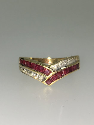 Ruby & Diamond V-Shaped Band in 9ct Yellow Gold