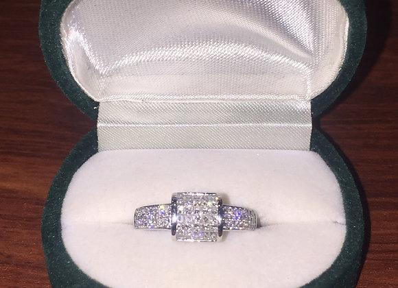 Pave Set Diamond Cocktail Ring in 18K White Gold