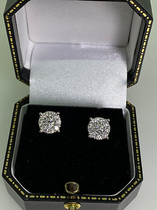 1.00ct (in total) Diamond Cluster 8mm Stud Earrings in 18K White Gold