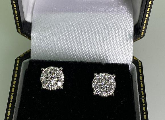1.00ct (in total) Diamond Cluster 8mm Stud Earrings in 18K White Gold