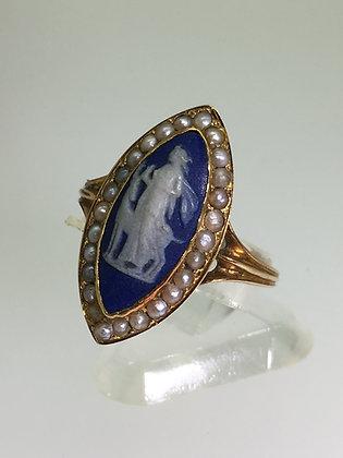 15K Rose Gold, Wedgwood Cameo & Seed Pearl Marquise Shaped Ring