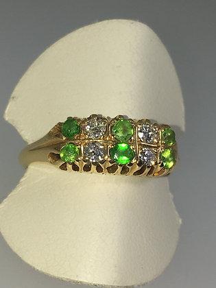Emerald & Diamond Double Row Half Hoop Ring in 18K Gold