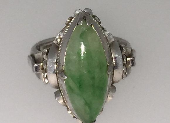 Natural Jadeite Ring in 18K White Gold