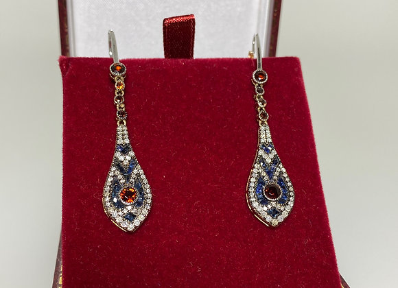 Rose Gold & Silver Garnet, Sapphire, Diamond Vintage Snake Head Drop Earrings