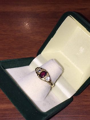 Oval Ruby & Diamond Ring in 18K Yellow Gold