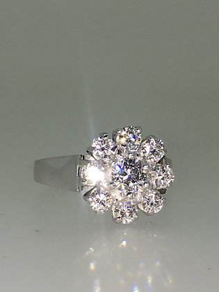 18K White Gold & Daisy Style Diamond Cluster Ring