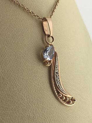 Russian Rose Gold & Aquamarine Pendant