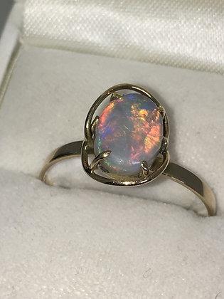 2.50ct Lightning Ridge Opal Ring in 9ct Yellow Gold