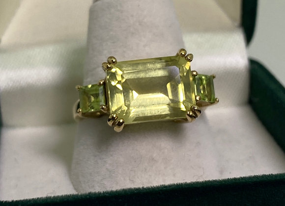 3-Stone Yellow CZ Vintage Ring in 9K Yellow Gold