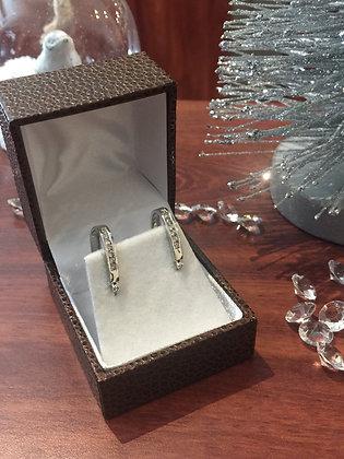 18K White Gold & Diamond Half Hoop Earrings