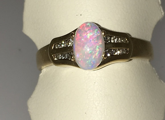 1ct Solid Opal & Diamond Vintage Ring