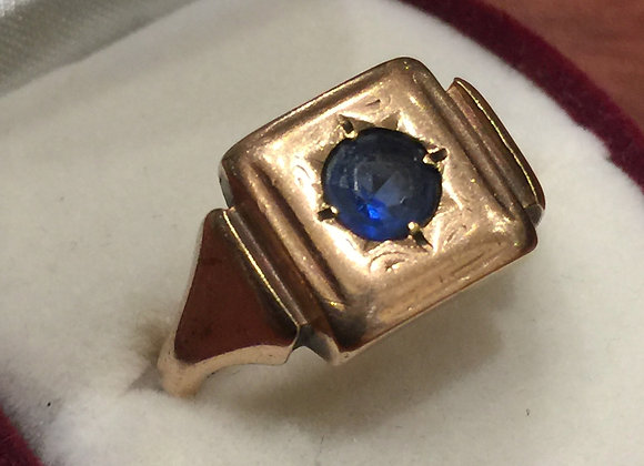 9K Rose Gold & Sapphire Mens' Signet Ring by William Drummond & Co