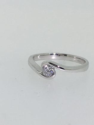 Single Stone/Solitaire Diamond Ring in 18K White Gold