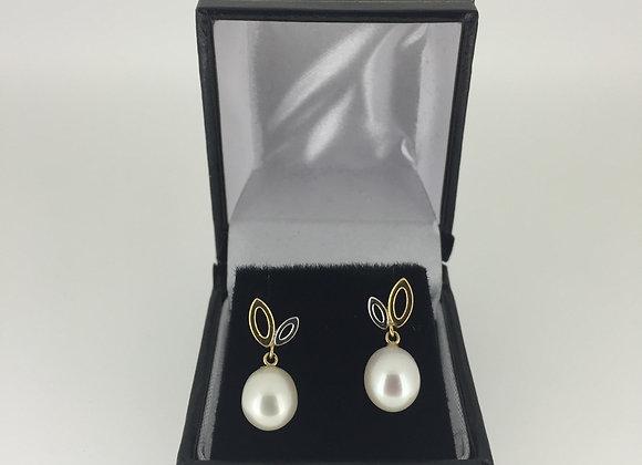 Gold & South Sea Pearl Pendant Earring