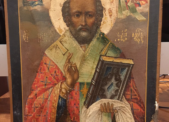 An Antique Russian XIX century Saint Nicholas Icon