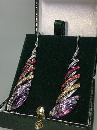 Diamond, Pink Sapphire, Citrine, Amethyst Pendant Earrings in 18K White Gold