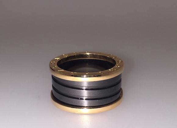 B.Zero1 Four Band 18K Rose Gold and Black Ceramic Ladies Ring