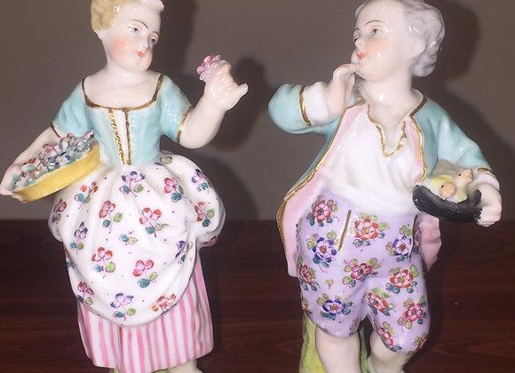 An Antique German Porcelain Pair of Figurines