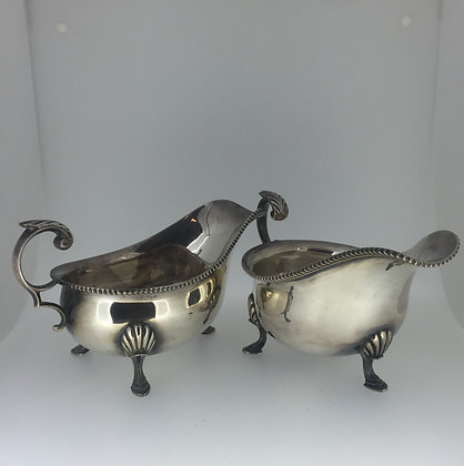 An Art-Deco Silver Plated Sauce Boats. Harrods.