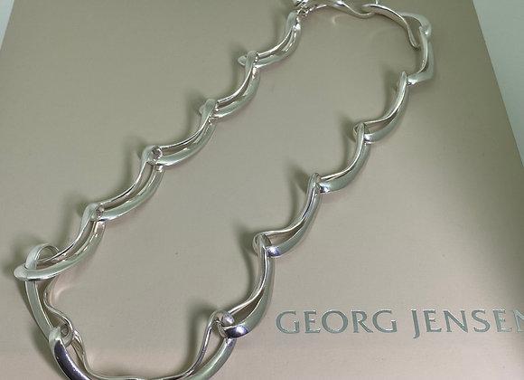 "Georg Jensen ""Infinity"" 925 Sterling Silver Necklace In Original Box."