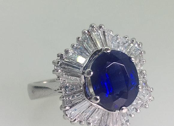 Sapphire & Diamond Ballerina Style Cluster Ring in Platinum