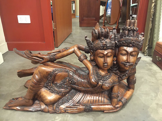 A Superb Carved Balinese Dancers Figure Group