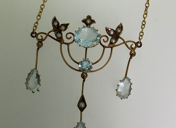 9K Yellow Gold, 7.00ct Aquamarine & Seed Peal Necklace