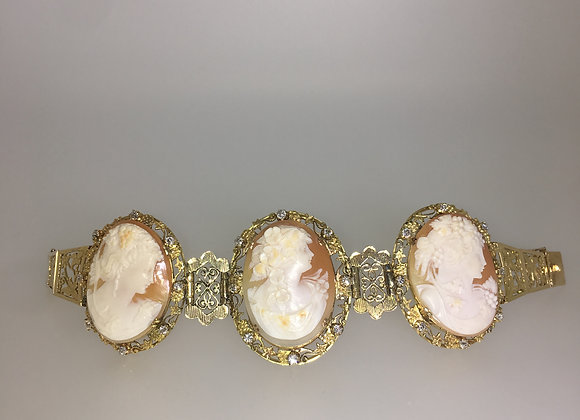 15ct Yellow Gold Cameo & 1.20ct Diamond Bracelet